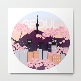 Seoul Tower with Cherry Blossoms Woodblock Style Souvenir Print Metal Print