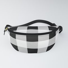 western country french farmhouse black and white plaid tartan gingham print Fanny Pack