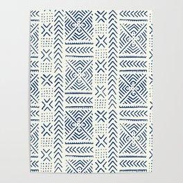 Line Mud Cloth // Ivory & Navy Poster