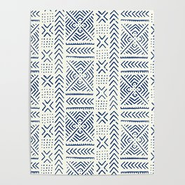 Line Mud Cloth // Ivory & Navy Poster