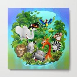 Wild Animals Cartoon on Jungle Metal Print