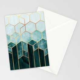 Teal Hexagons Stationery Cards
