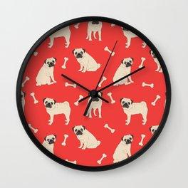 Just pugs pattern Wall Clock