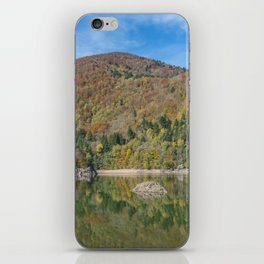 Autumn lake view in France iPhone Skin