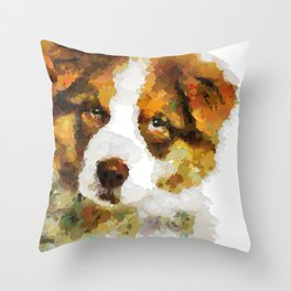 Australian Shepherd puppy  portrait discover Throw Pillow