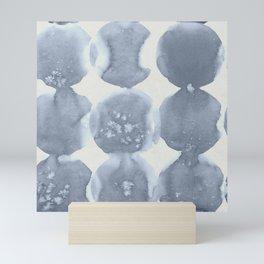 Shibori Wabi Sabi Indigo Blue on Lunar Gray Mini Art Print