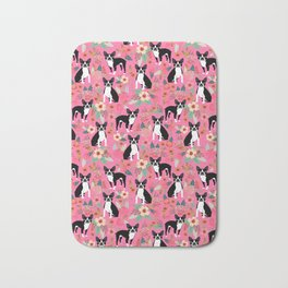 Boston Terrier florals dog breed pattern must have pupper gifts dog lovers Bath Mat