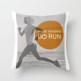Log Off Shut Down Go Run Throw Pillow