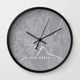 New Haven Map, Connecticut USA - Pewter Wall Clock