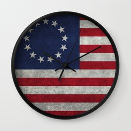 Betsy Ross flag, distressed textures Wall Clock