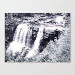 West Virginia Blackwater Falls Black and White Canvas Print