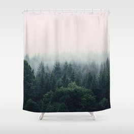 Between every two pines is a doorway to a new world Shower Curtain