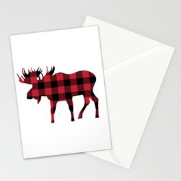 Moose Silhouette in Buffalo Plaid Stationery Cards