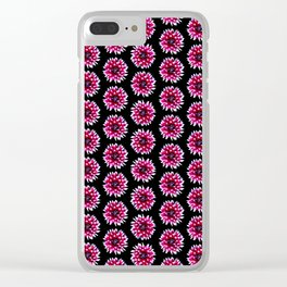 Dahlias Pattern  in Pink, Red Clear iPhone Case