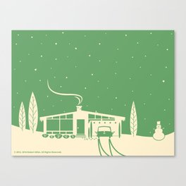 Mid-Century Snowscape in Green Canvas Print