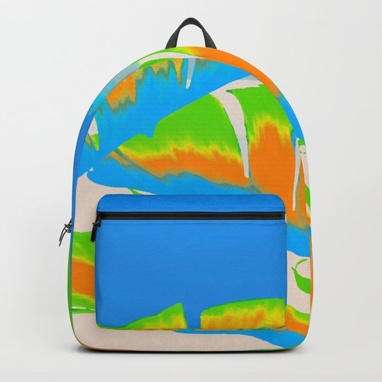 Tropical Colored Banana Leaves Design Backpack