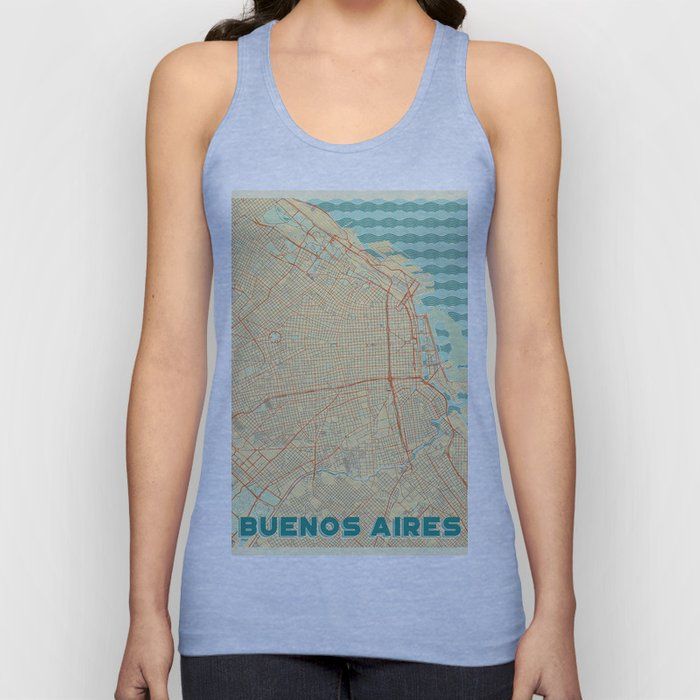 Buenos Aires Map Retro Unisex Tank Top
