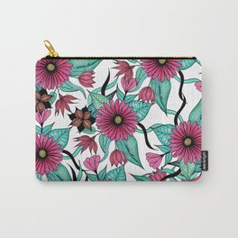 Girly Pink and Teal Watercolor Floral Illustration Carry-All Pouch