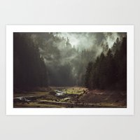 drawing Art Prints featuring Foggy Forest Creek by Kevin Russ