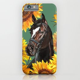 Horse with Sunflowers iPhone Case