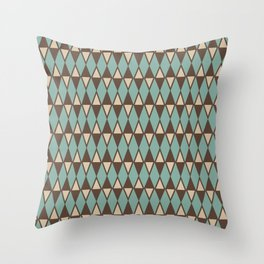 Mid Century Modern Diamond Pattern 584 Turquoise and Brown Throw Pillow