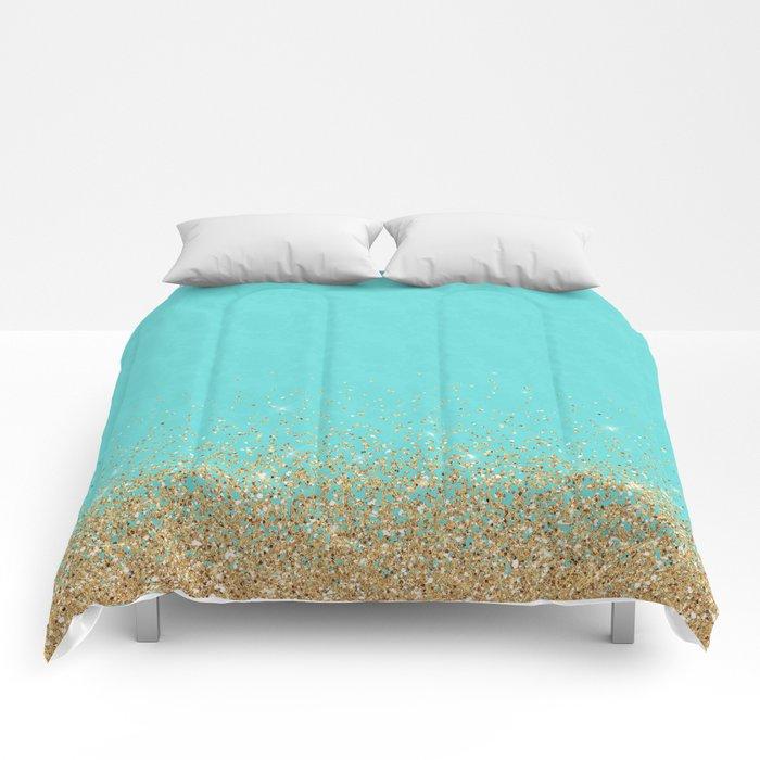 Sparkling gold glitter confetti on aqua teal damask background Comforters