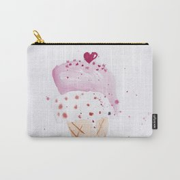 Ice cream Love watercolor illustration summer love pink strawberry Carry-All Pouch
