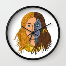 Hel Norse Goddess Face Front Drawing Color Wall Clock