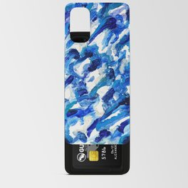 Turbulent Waves Original Abstract Oil Painting on Canvas, Blue, Silver 8x10in Android Card Case