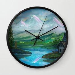 Pastel Skies Mountain Splendor Wall Clock