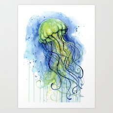 Jellyfish Watercolor Beautiful Sea Creatures Art Print
