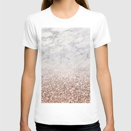 Bold ombre rose gold glitter - white marble T-shirt