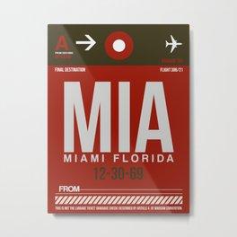 MIA Miami Luggage Tag 2 Metal Print