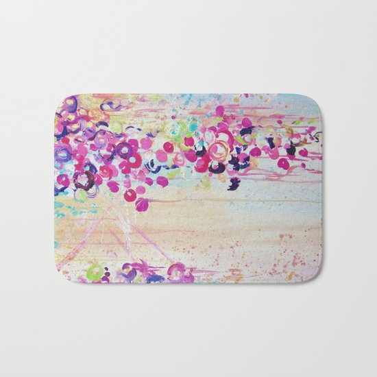 DANCE OF THE SAKURA - Lovely Floral Abstract Japanese Cherry Blossoms Painting, Feminine Peach Blue  Bath Mat