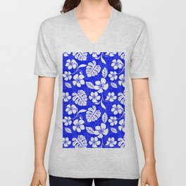 Blue and White Hibiscus Aloha Hawaiian Flower Blooms and Tropical Banana Leaves Pattern Unisex V-Neck