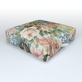 Vintage Botanical Flower Lady with Hut Pattern Outdoor Floor Cushion