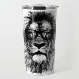 Hipster Lion White Travel Mug