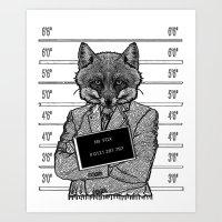 mr fox Art Prints featuring Mr fox.. by ZefxisJR281