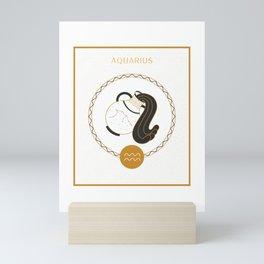 Aquarius Symbol | Zodiac Sign Art Mini Art Print