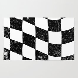 Grunged Chequered Flag Rug