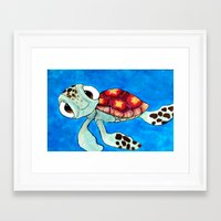 finding nemo Framed Art Prints featuring Squirt From Finding Nemo by Jadie Miller
