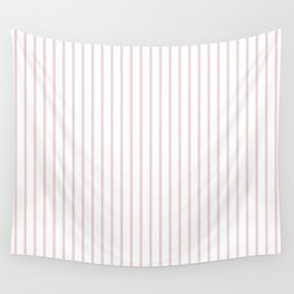 Alice Pink Pinstripe on White Wall Tapestry