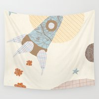 spaceship Wall Tapestries featuring spaceship collage by flying bathtub