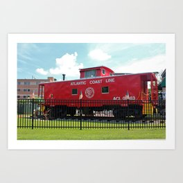 Red Caboose On Display Art Print