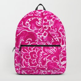Watercolor Chinoiserie Block Floral Print in Magenta Pink Porcelain Tiles Backpack