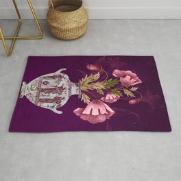 Grecian Marble Hydria with Antique Pink Flora on Celestial Plum Rug