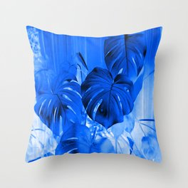 A Philodendron in blue Throw Pillow