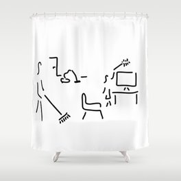 housework clean sweep Shower Curtain