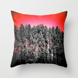 Gray Trees Candy Apple red Sky Throw Pillow