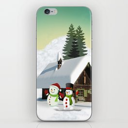Christmas Snowman Scene iPhone Skin